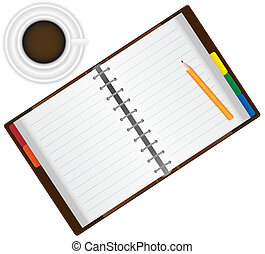 Organizer and Coffee - Open Organizer Notebook With Pencil...