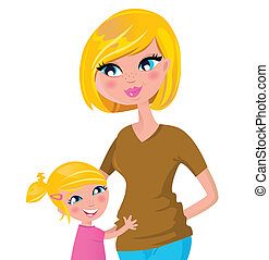 Cute blond mother and daughter isolated on white - Mother...