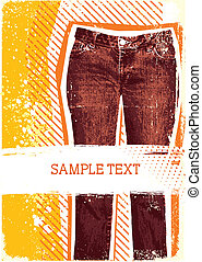 Denim background for design with grunge elements for text.Jeans