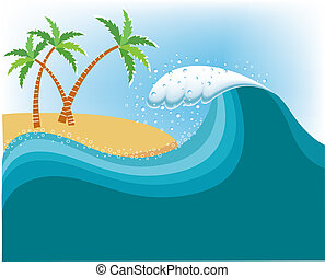 Big wave near tropical island.Vector water background