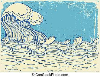 Huge wave in sea.Vector grunge illustration - Huge wave in...