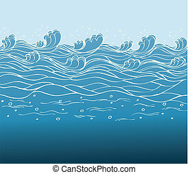 Blue waves.Vector image of Sea background for design