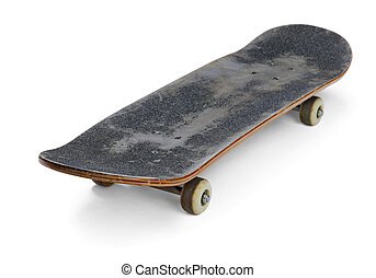 Skateboard - Old used skateboard isolated on white
