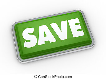 save button - one green button with the word save 3d render...