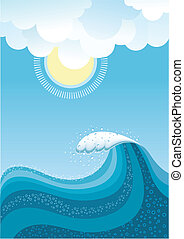 Wave in ocean.Water background with sun.Mesh