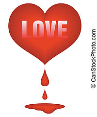 red heart with drops of blood and pool under