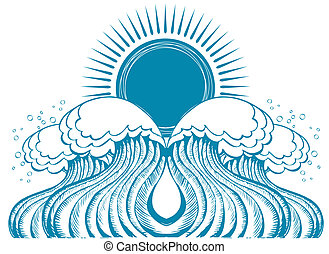 Sea waves. Vector illustration of symbol of nature  on white