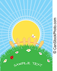 natural background with summer landscape.Vector cartoons for text