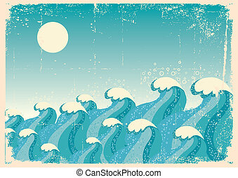 Blue wavesVector vintage image of Sea background on old...