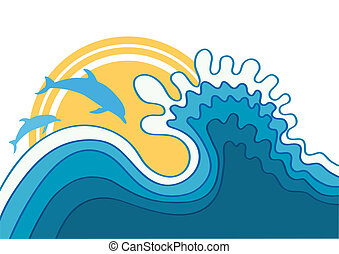Dolphins in blue sea waveVector cartoons seascape
