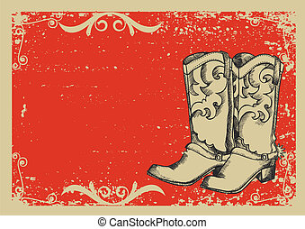 Cowboy boots Vector graphic image with grunge background for...