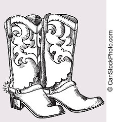 Cowboy boots Vector graphic image of shoes for cowboy life