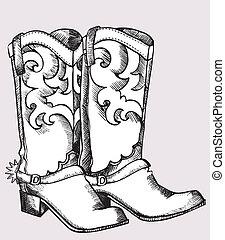 vaquero, botas, vector, gráfico, imagen