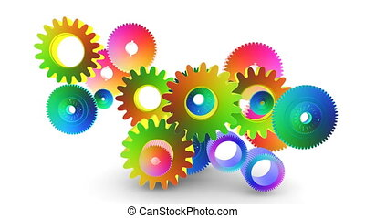 gear toon 03 - gears cogs and pinions isolated on white...