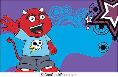 demon kid cartoon background11