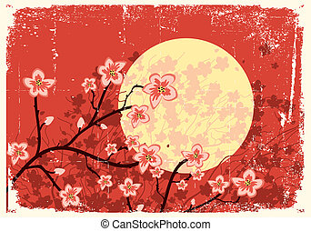 Flowing Sakura treeGrunge image - Illustration of sakura...