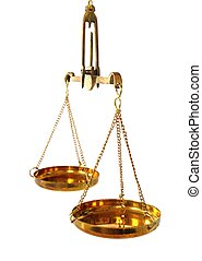 antique balance scale with empty pans on white background