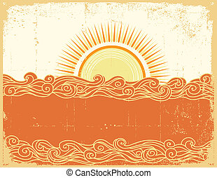 Abstract sea waves. Vector illustration of sea...