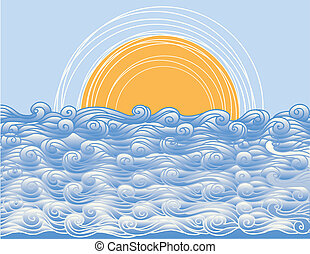 Abstract sea waves. Vector illustration of sea landscape