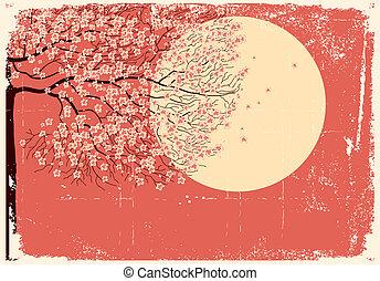 Flowing Sakura tree.Grunge image