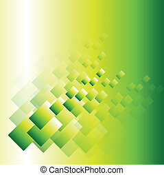 Abstract background green transparent squares, vector