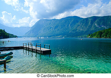 Lake Bohinj. Slovenia - Beautiful view. Lake, mountain,...