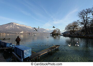 Annecy lake and mountain
