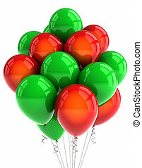 Red and green party ballooons over white background