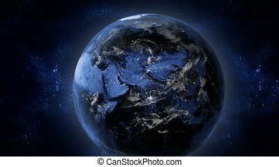 Earth at night - 3d Render using satellite imagery NASA
