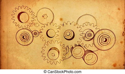 gear old 03 - gears cogs and pinions sketch on old paper
