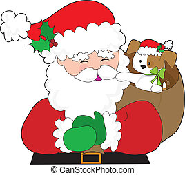 Santa and Puppy Gift - Santa Claus has a puppy in his sack....