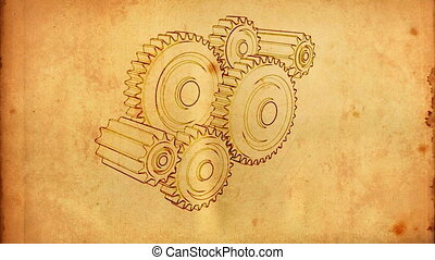 gear old 04 - gears cogs and pinions sketch on old paper