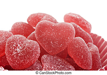 Red heart shaped jelly sweets