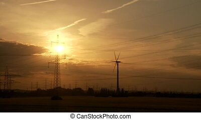 Power Poles, Timelapse, Sunset