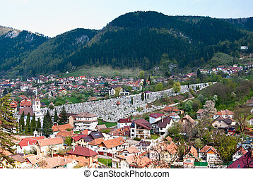 Brasov - Aeral view of old part of Brasov city, Schei