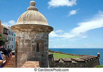 San Cristobal Fort Tower - A view of the historic San...
