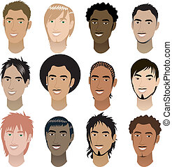 Mens Faces - Vector Illustration of 12 men faces. Men Faces...