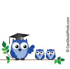 Owl teacher and pupils sat on a tree branch with copy space