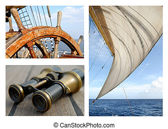 Sails and the sea - Collage on a sea theme, sails, the sea,...