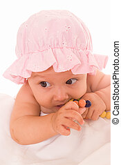 baby with toys - wonderful baby with toys in a white
