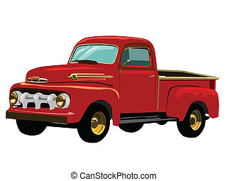 Red truck - Vector graphic illustration of red antique truck...