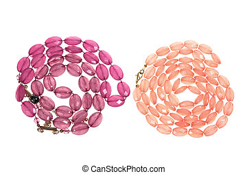 Necklaces on Isolated White Background