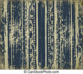 Grungy dark blue wood scroll-work stripes