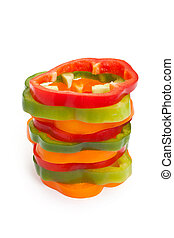 Slice Bell Pepper with white background