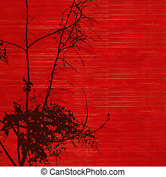 Black golden shower tree blossom silhouette on red ribbed...