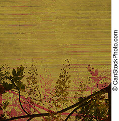 Blossom on earthy green slatted background - Blossom on...