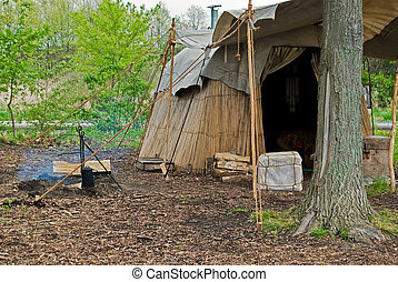 Native American Campsite - Homemade Indian hut on campsite.