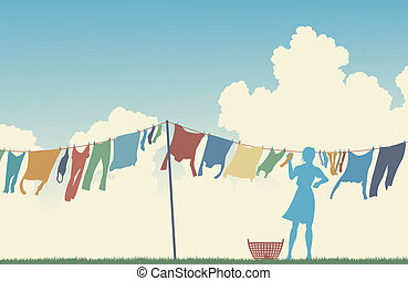 Laundry day - Editable vector silhouette of a woman hanging...