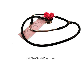 stethoscope to the heart and ECG on a white background