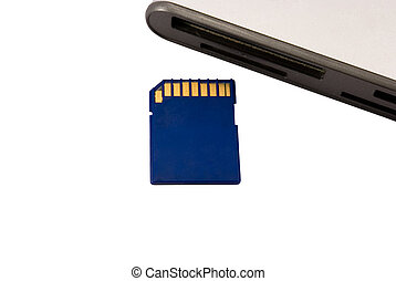 card reader and memory card on a white background